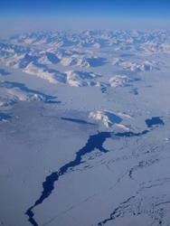 Wybrzeże Grenlandii z lotu ptaka
